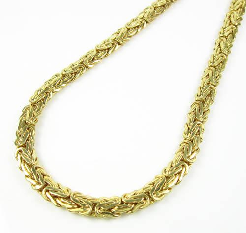 10k yellow gold flat byzantine chain 18 inch 6.5mm