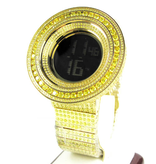 Mens Techno Com Kc Canary Cz Xl Bezel Digital Watch 25.00ct