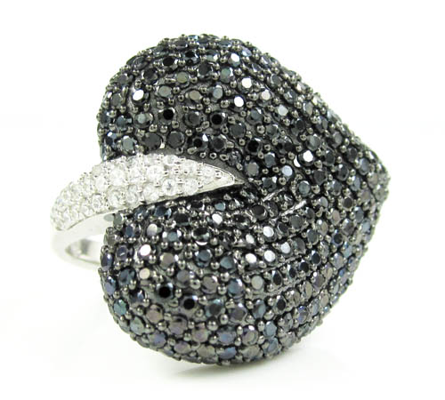 Ladies 925 Sterling Silver Black & White Cz Heart Ring 2.00ct