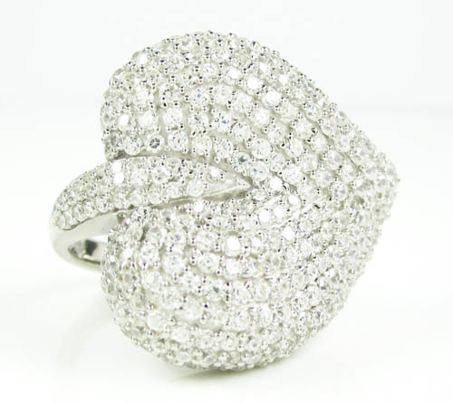 Ladies 925 Sterling Silver White Cz Heart Ring 2.00ct