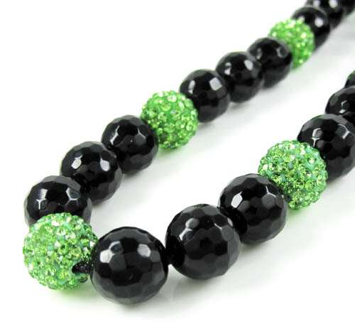 Lime Green Rhinestone Macramé Black Onyx Faceted Bead Chain 17.00ct