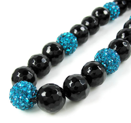 Turquoise Blue Rhinestone Macramé Black Onyx Faceted Bead Chain 17.00ct