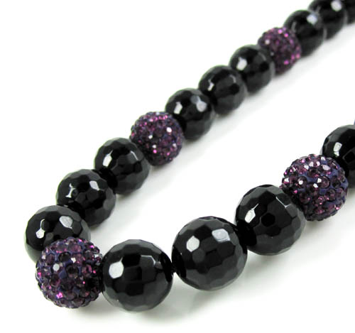 Purple Rhinestone Macramé Black Onyx Faceted Bead Chain 17.00ct