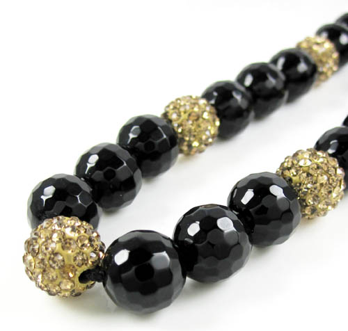 Champagne Rhinestone Macramé Black Onyx Faceted Bead Chain 17.00ct