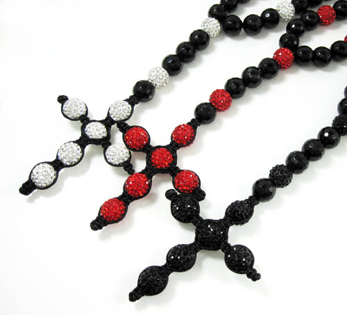 Black onyx rhinestone faceted bead rosary chain 24.00ct