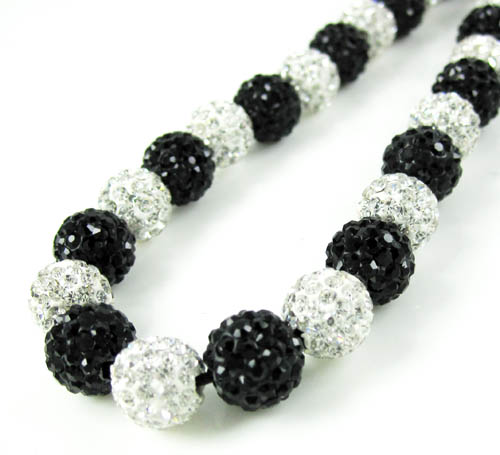 Black & White Rhinestone Macramé Bead Black Rope Chain 50.00ct