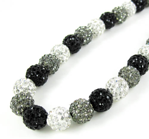 Multi Colored Rhinestone Macramé Bead Black Rope Chain 50.00ct