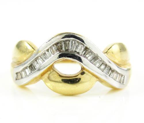 Ladies 14k Two Tone Gold Baguette Diamond Swirl Ring 0.50ct