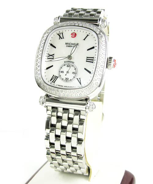 Ladies Michele Caber Isle Diamond White Stainless Steel Watch 0.58ct