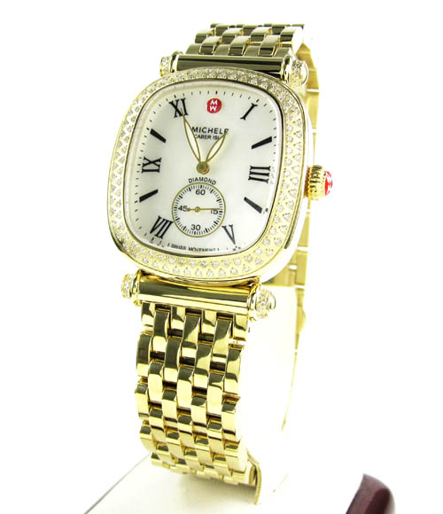Ladies Michele Caber Isle Diamond Yellow Stainless Steel Watch 0.58ct
