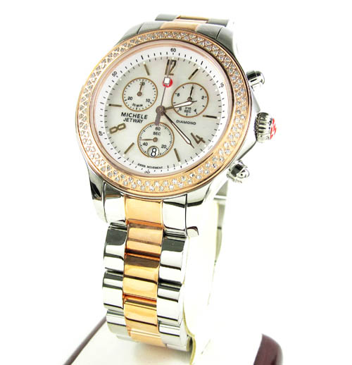 Ladies michele jetway diamond white & rose stainless steel watch 0.50ct