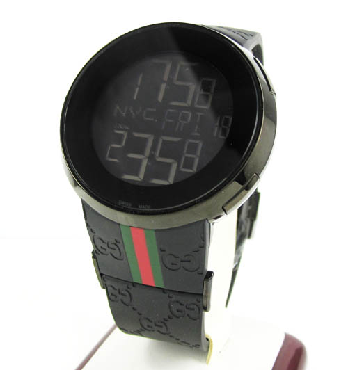 Mens igucci black stainless steel digital watch