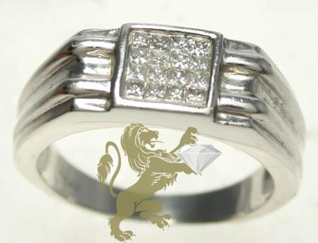 0.50ct 14k White Gold Diamond 'princess Cut Square Band' Ring