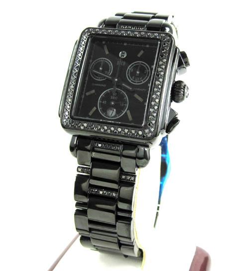 Ladies Michele Deco Day Black Diamond Dial Black Stainless Steel Watch 0.60ct