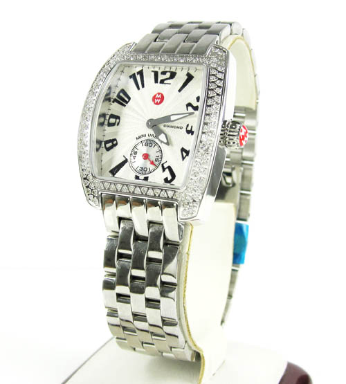 Ladies Michele Mini Urban Diamond White Stainless Steel Watch 0.65ct