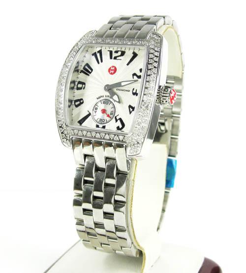 Ladies Michele Mini Urban Diamond White Stainless Steel Watch 0.65ct