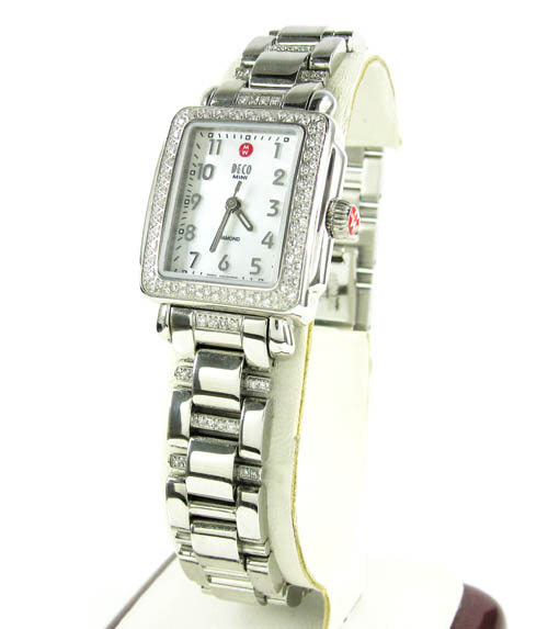 Ladies michele deco mini diamond white stainless steel watch 0.36ct