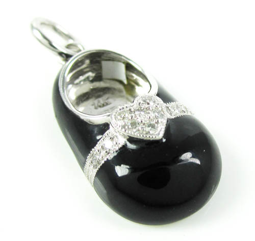 14k white gold black enamel diamond heart baby shoe pendant 0.08ct