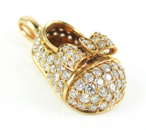 18k rose gold diamond baby shoe pendant 0.92ct