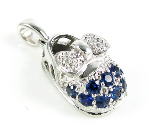 18k white gold diamond & blue sapphire baby shoe pendant 0.51ct