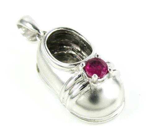14k white gold purple ruby baby shoe pendant 0.20ct