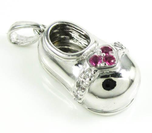 14k White Gold Diamond & Purple Ruby Heart Baby Shoe Pendant 0.09ct