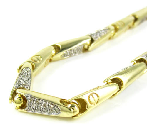 Mens 14K Yellow Gold Bullet Link Diamond Bracelet 1 20CT