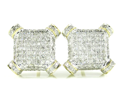 10k solid yellow gold diamond pave earrings 0.55ct