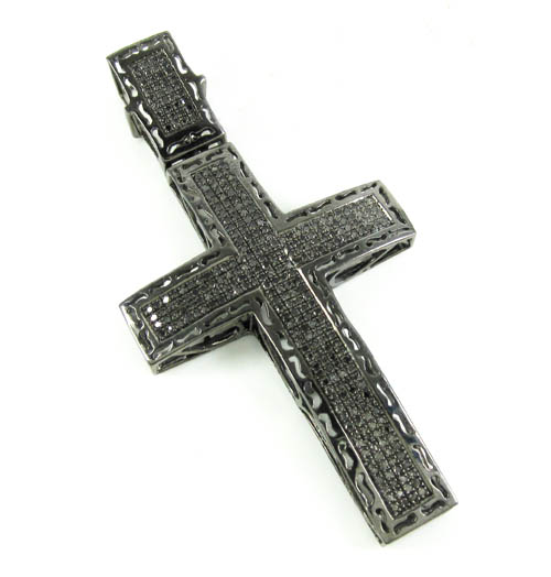 925 Sterling Silver Black Diamond Cross 1.25CT