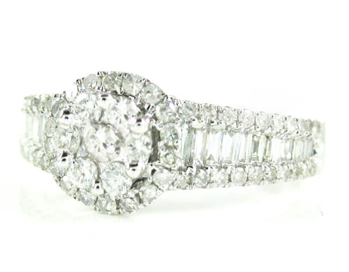 Ladies 14k White Gold Baguette & Round Diamond Engagement Ring 1.00ct