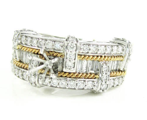 Ladies 14k White Gold Baguette & Round Diamond Semi Mount Ring 1.50ct