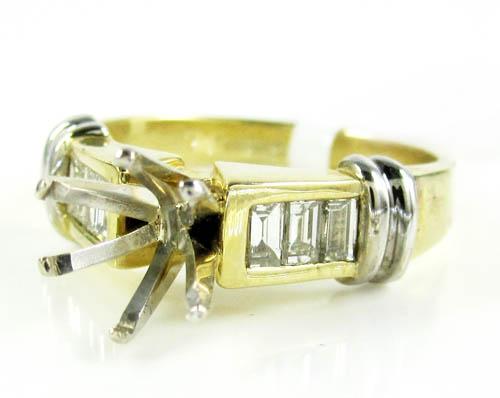 Ladies 14k yellow gold baguette diamond semi mount ring 0.30ct