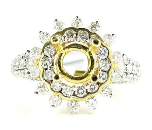 Ladies 14k Yellow Gold Round Diamond Sun Flower Semi Mount Ring 1.50ct