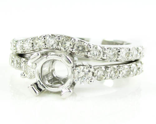 Ladies 14k White Gold Round Diamond Semi Mount Ring Set 1.15ct