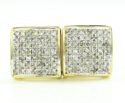 925 Yellow Sterling Silver Diamond Earrings 0.75CT