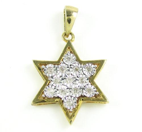 Yellow Sterling Silver Fancy Star Of David Diamond Pendant 0.35ct