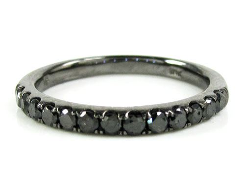 Ladies 14K Black Gold Black Diamond Wedding Band 0.39CT