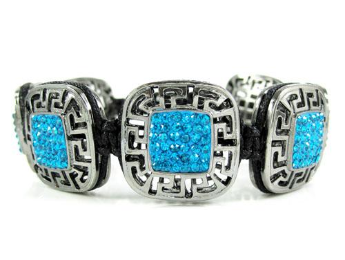 Mens black stainless steel aqua blue rhinestone box fendi style bracelet 3.50ct