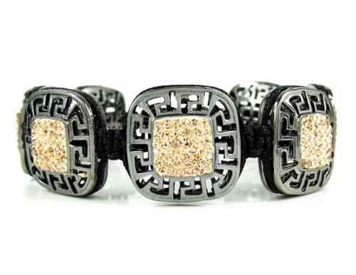 Mens black stainless steel champagne rhinestone box fendi style bracelet 3.50ct