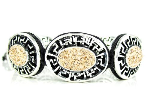 Mens white stainless steel champagne rhinestone oval fendi style bracelet 3.50ct