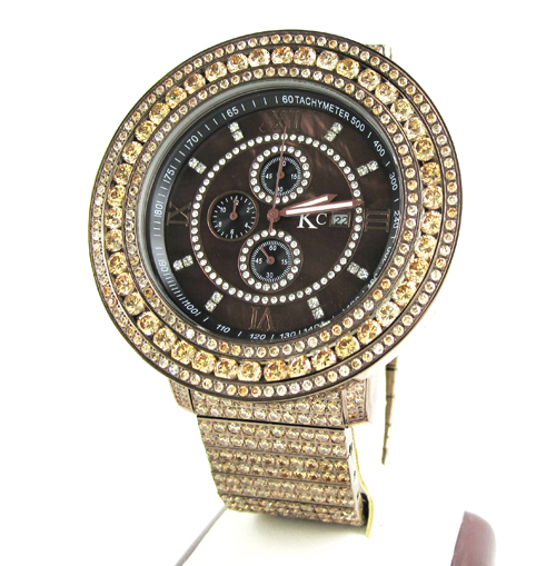 Champagne Cz Techno Com By Kc Fully Iced Out Xl Watch 28.00ct