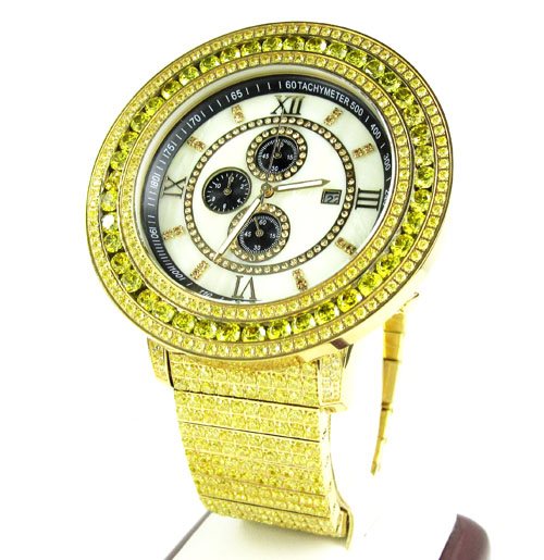 Canary Cz Techno Com By Kc Fully Iced Out Xl Watch 28.00ct