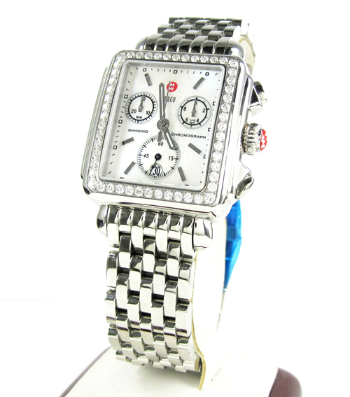 Ladies michele deco day diamond white stainless steel watch 1.08ct