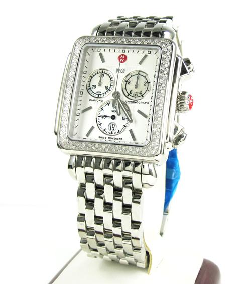 Ladies michele xl deco day diamond white stainless steel watch 0.67ct