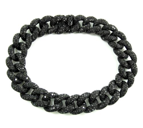 Black Sterling Silver Black Diamond Miami Link Bracelet 12.50ct