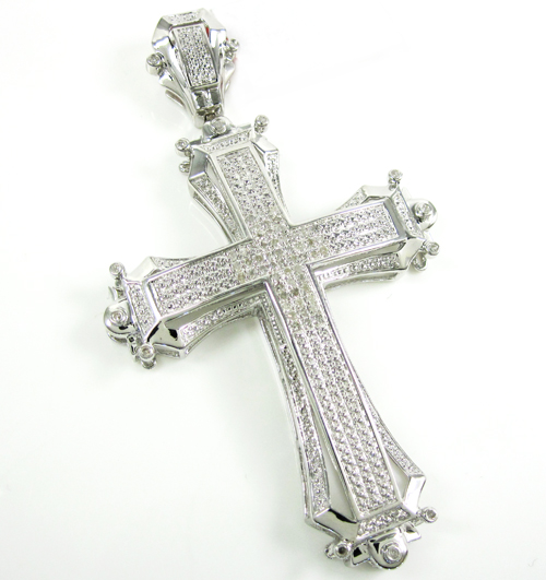 Mens White Sterling Silver Diamond Cross 0.50ct
