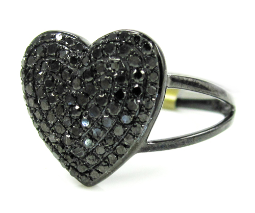 Ladies 10k Black Gold Black Diamond Heart Ring 0.67ct