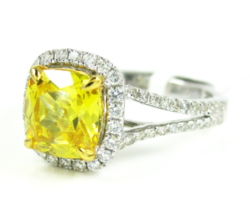 Ladies 14k white gold canary citrine diamond ring 3.54ct