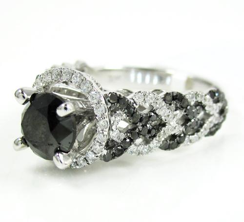 Ladies 14k White Gold Black & White Diamond Fancy Engagement Ring 2.40ct