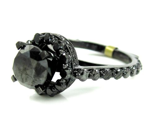 Ladies 10k Black Gold Black Diamond Fancy Engagement Ring 3.73ct
